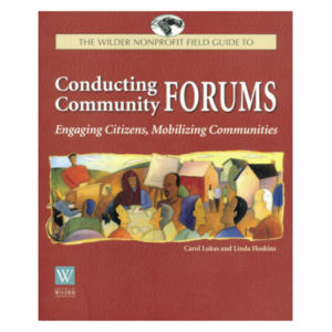 "Book cover: Conducting Community Forums. 7"" x 9"", softcover, 112 pages, $29.95"